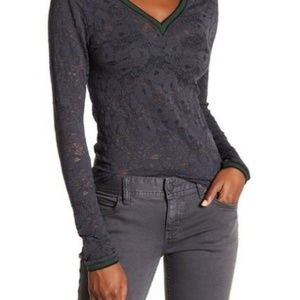 Intimately Free People | Gray Lace Long Sleeve Top